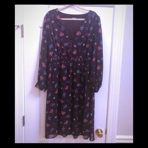 Eggplant Floral Dress by Express